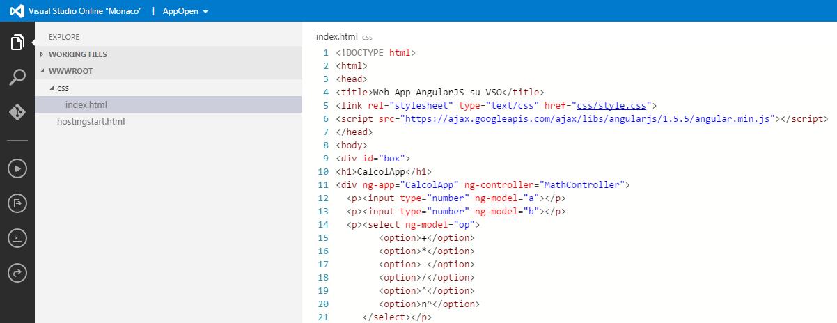 Digitazione del codice sull'editor di Visual Studio Online