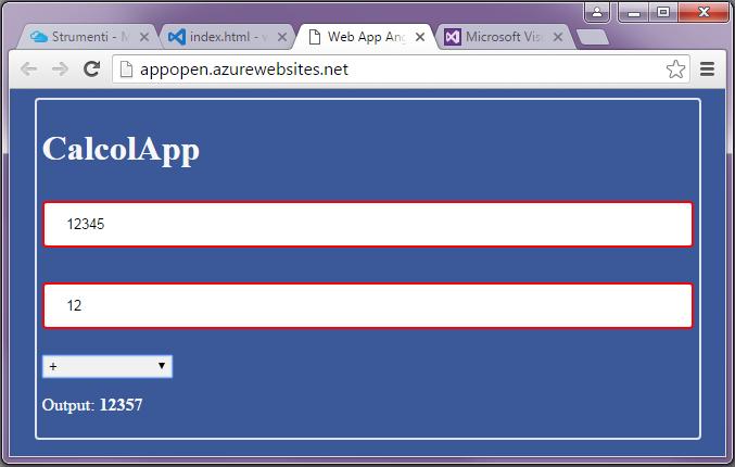 Web App in esecuzione sul Web service di Visual Studio Online