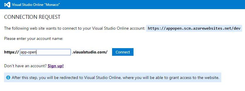 Creazione di un URL per la Web App su Visual Studio Online