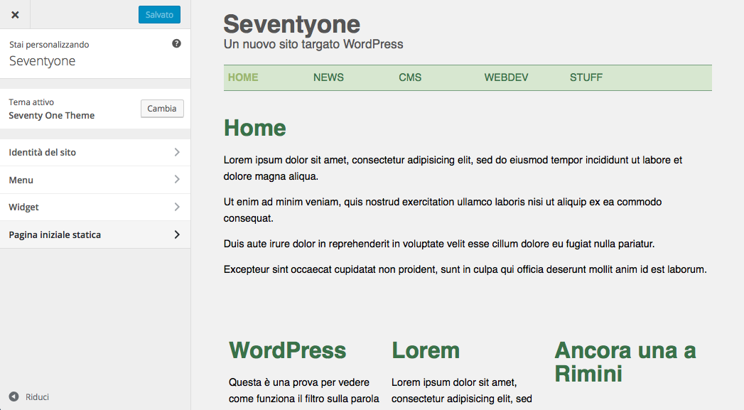 Theme Customizer iniziale di Seventyone