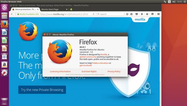 Versione del browser Firefox