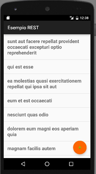 Layout dell'app
