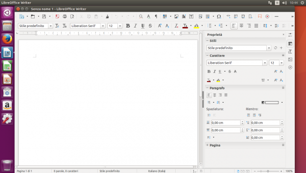 Finestra del software LibreOffice Writer
