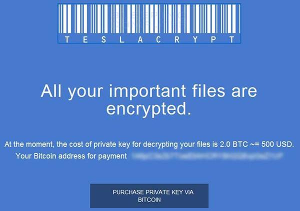 Pagina HTML con le istruzioni per il pagamento, generata da TeslaCrypt