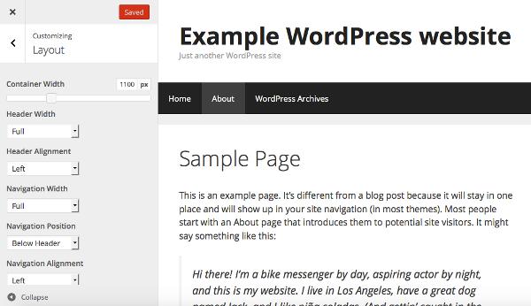 Il Theme Customizer di GeneratePress permette di personalizzare finemente il layout del sito