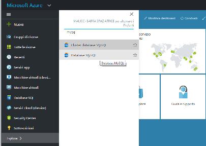 Creazione di un database MySQL su Azure