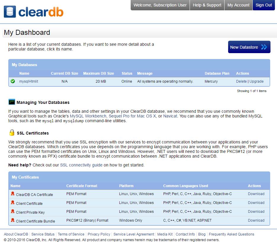 Gestione database con ClearDB