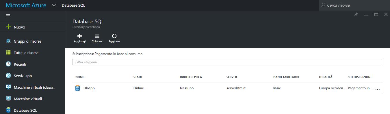 Nuovo database SQL in Azure