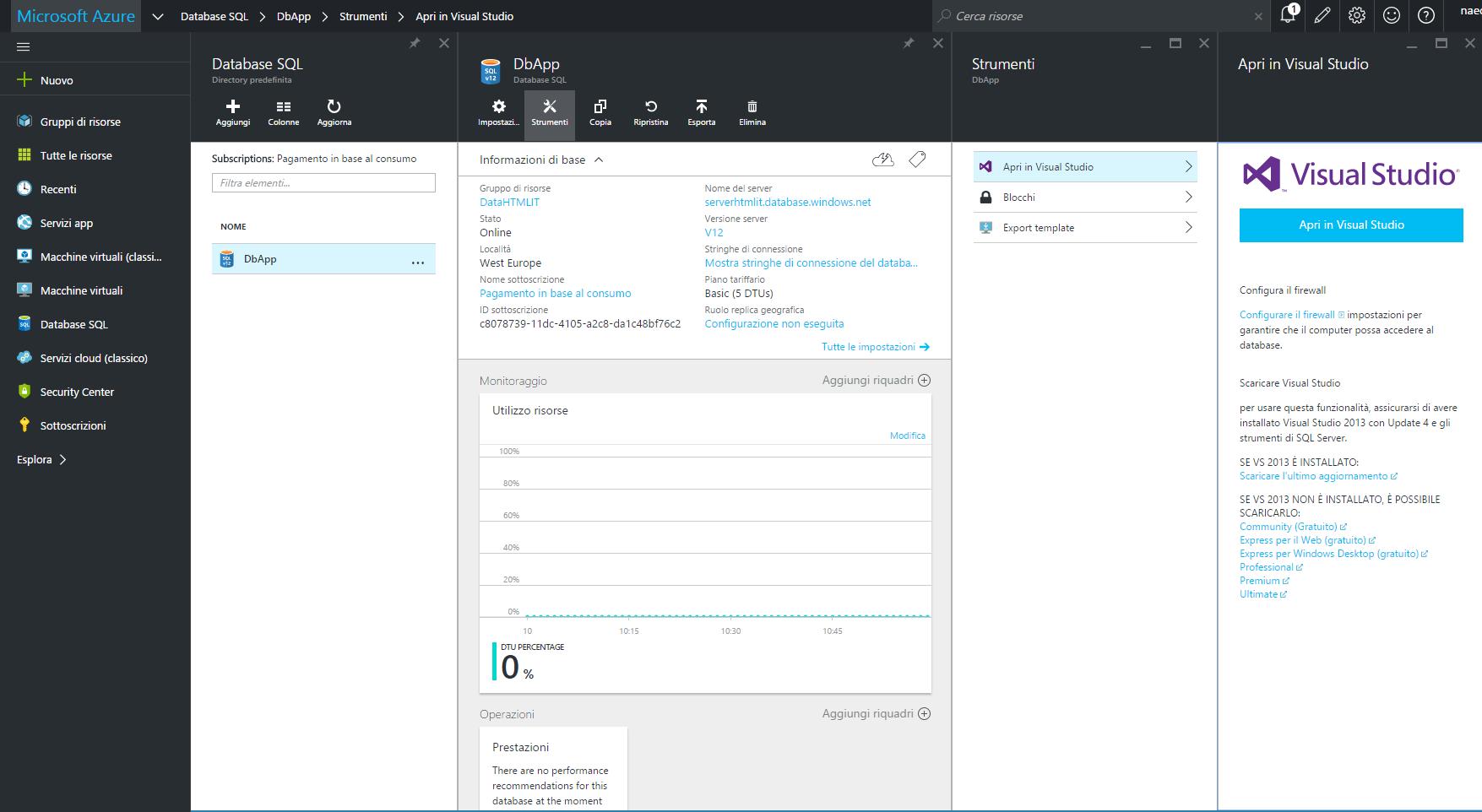 Apertura del database in Visual Studio