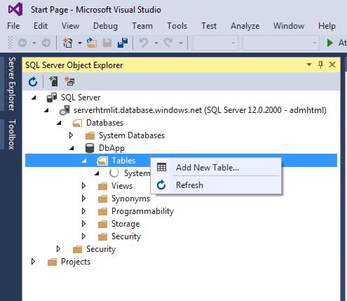 Gestione del database con Visual Sudio