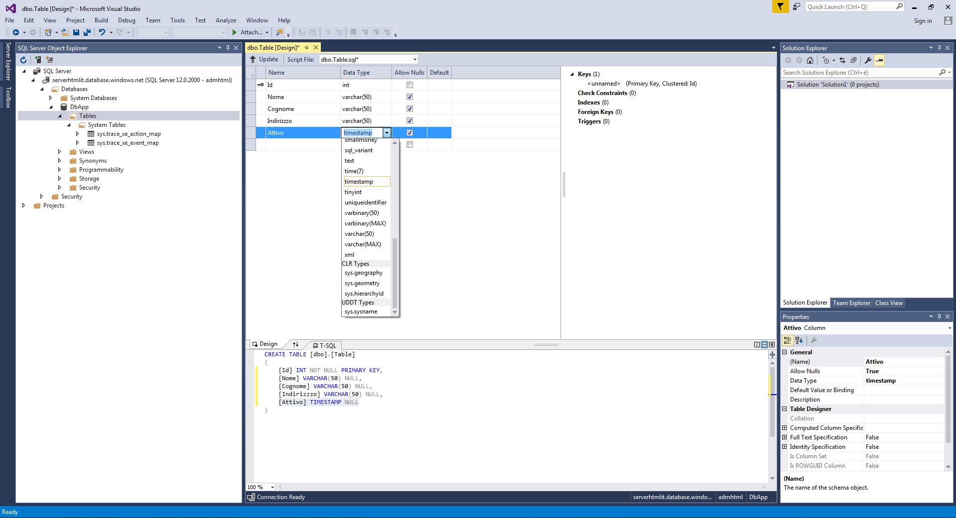 Manipolare un database su Azure con Visual Sudio