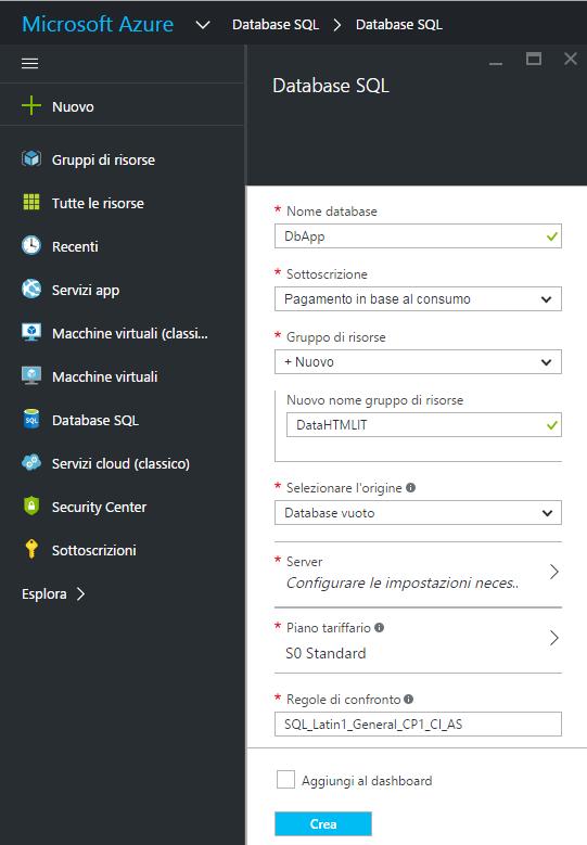 Creazione di un database SQL in Azure