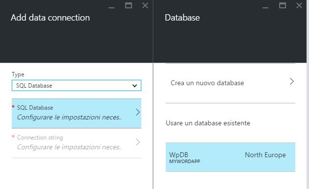Opzioni per la connessione al database
