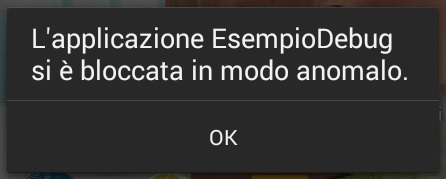 Messaggio di errore in Android