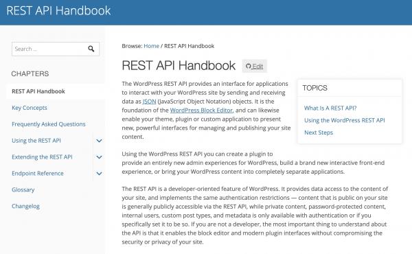 La pagina principale delle REST API di WordPress