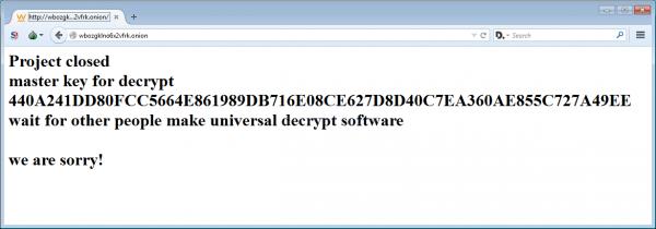 La master key rilasciata sul sito di TeslaCrypt