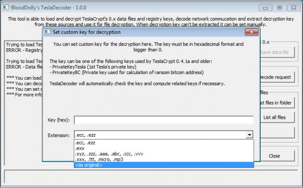 Selezione dell'estensione dei file cifrati su TeslaDecoder
