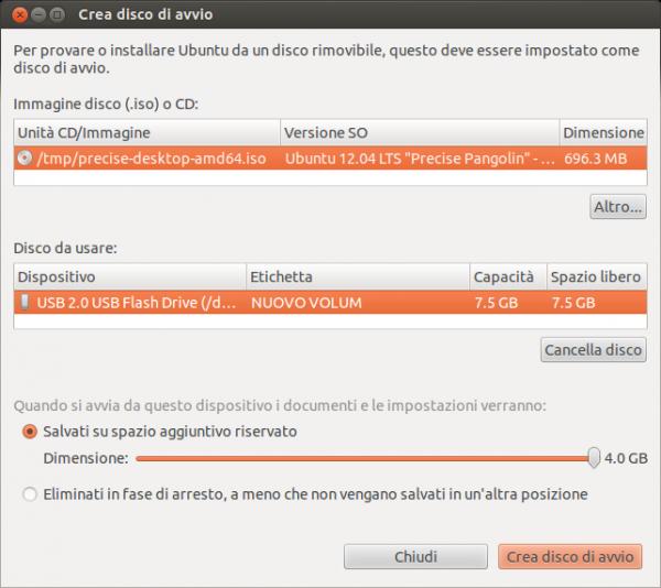 Schermata del programma USB disk creator