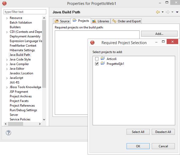 Configurazione Web project