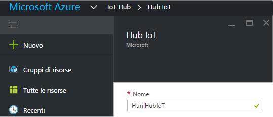 Assegnazione del nome all'Hub IoT