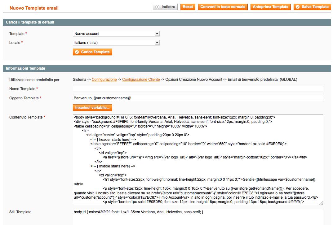 Schermata di creazione o modifica del template email