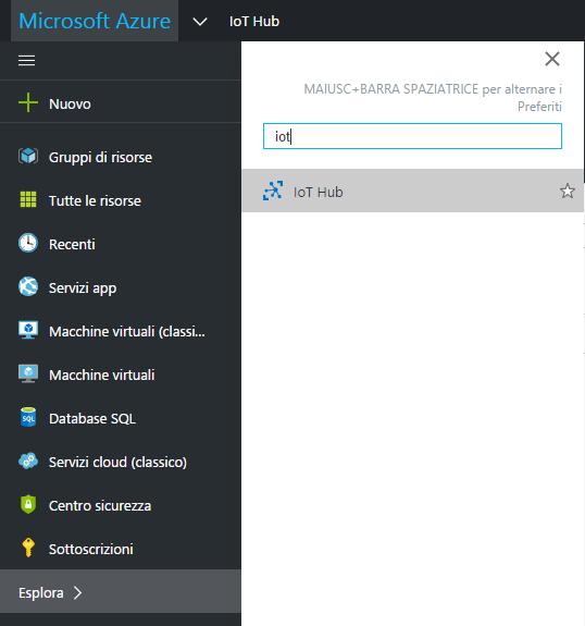 Sezione IoT Hub di Azure