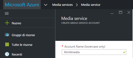 Username dell'Account Media Service
