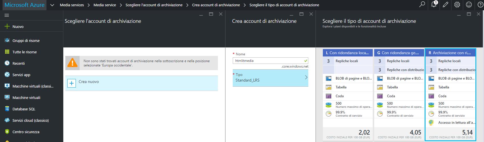 Creazione dello Storage Account