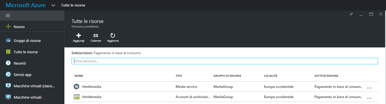 Account Media Service e Storage account in MediaGroup