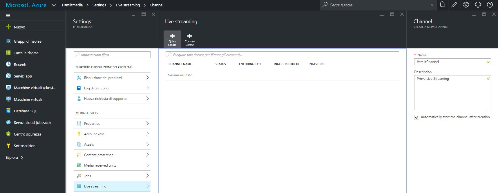 Creazione del canale per il Live streaming