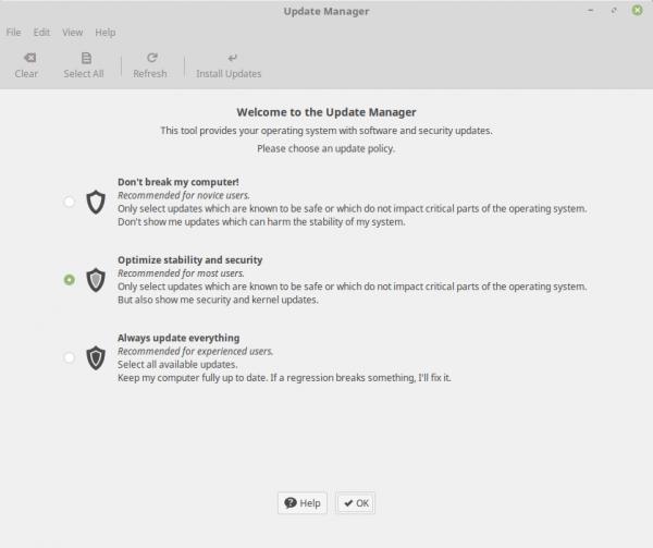 Scelta delle update policy sul gestore degli aggiornamenti di Linux Mint 18