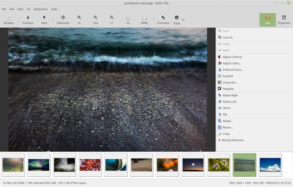 L'interfaccia di Pix, gestore di fotografie di deafult su Linux Mint 18