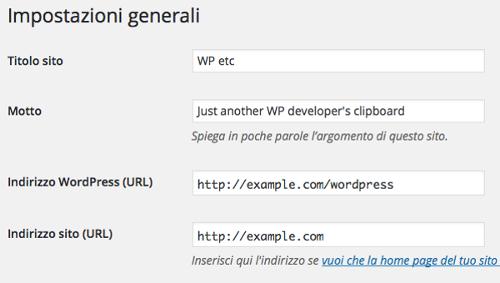 Impostazioni generali: indirizzi del sito e di WordPress