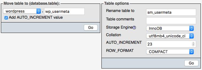 Modificare il prefisso delle tabelle da PHPMyAdmin