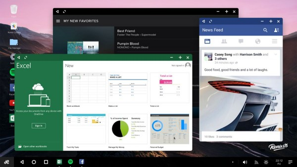 Supporto multi-finestra sul desktop di Remix OS