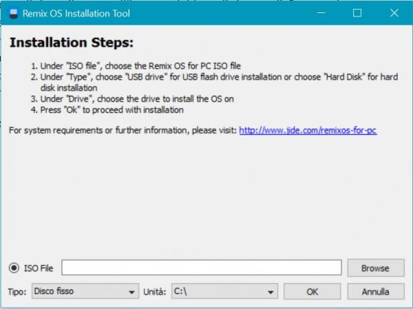L'interfaccia del tool di installazione di Remix OS