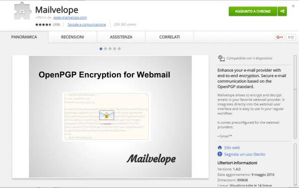 Mailvelope nello store di Google