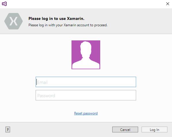 Immissione delle credenziali dell'account Xamarin su Visual Studio