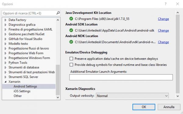 Configurazione di JDK ed Android SDK