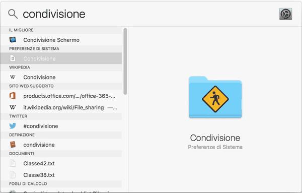 Impostazioni di condivisione su Mac OS X