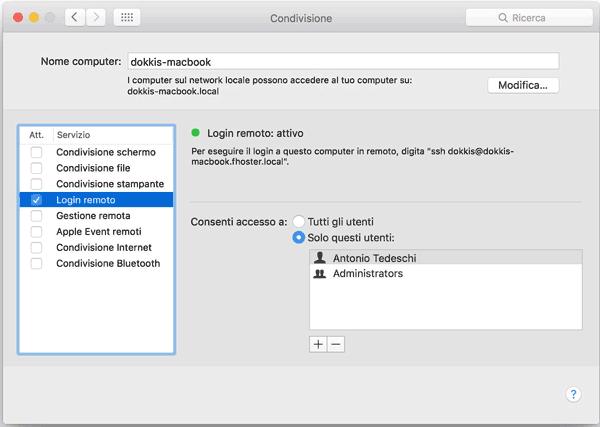 Attivazione del log in remoto su Mac OS X