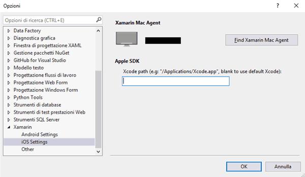 Impostazioni di Xamarin per iOS su Visual Studio