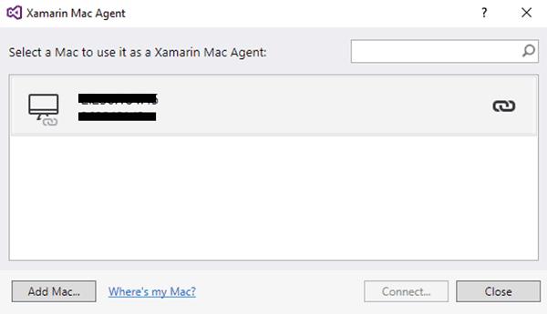 La finestra Xamarin Mac Agent, che mostra i Mac remoti disponibili