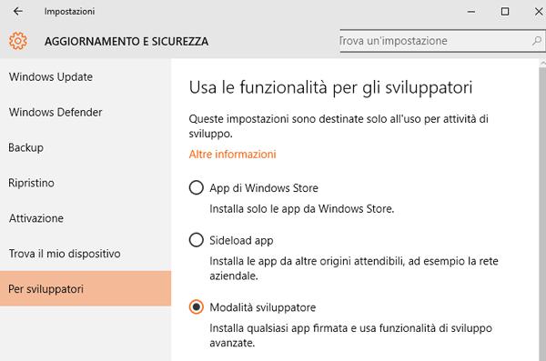 Abilitazione delle Opzioni da Sviluppatore su Windows 10