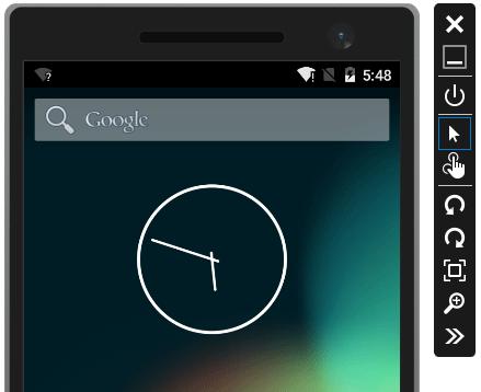 Interfaccia dell'emulatore di Android