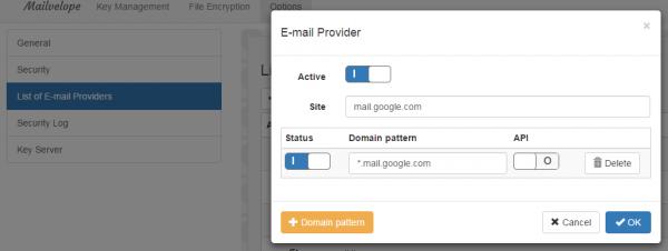 Aggiunta e attivazione del provider Gmail