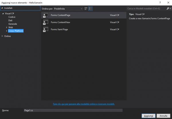 Aggiunta di una nuova Page su Visual Studio