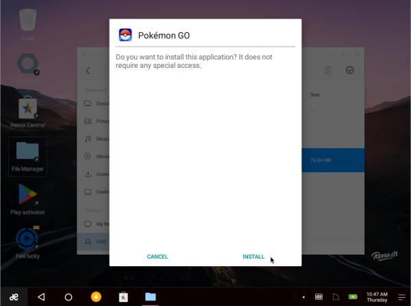 Installazione di Pokemon GO su Remix OS