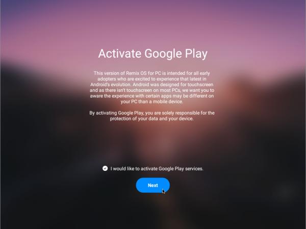 Abilitazione dei servizi Google e del Play Store durante il primo avvio di Remix OS