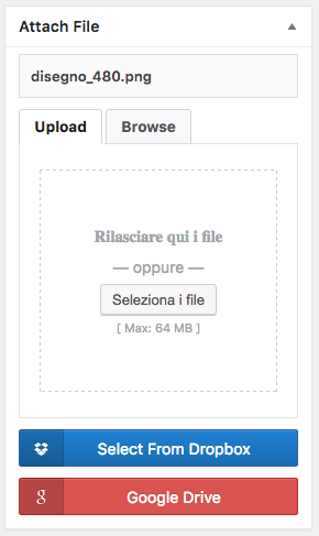 Il meta box di caricamento dei file